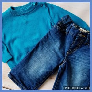 The Children's Place Baby Boy Sweater Jeans Outfit